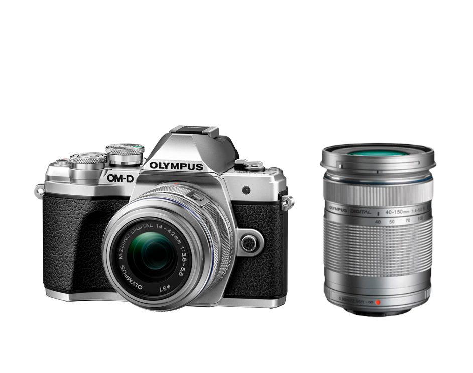 Фотоаппарат Olympus OM-D E-M10 Mark III 14-42IIR Double Zoom Kit с объективами 14-42IIR и 40-150mm серебристый (V207071SE010)