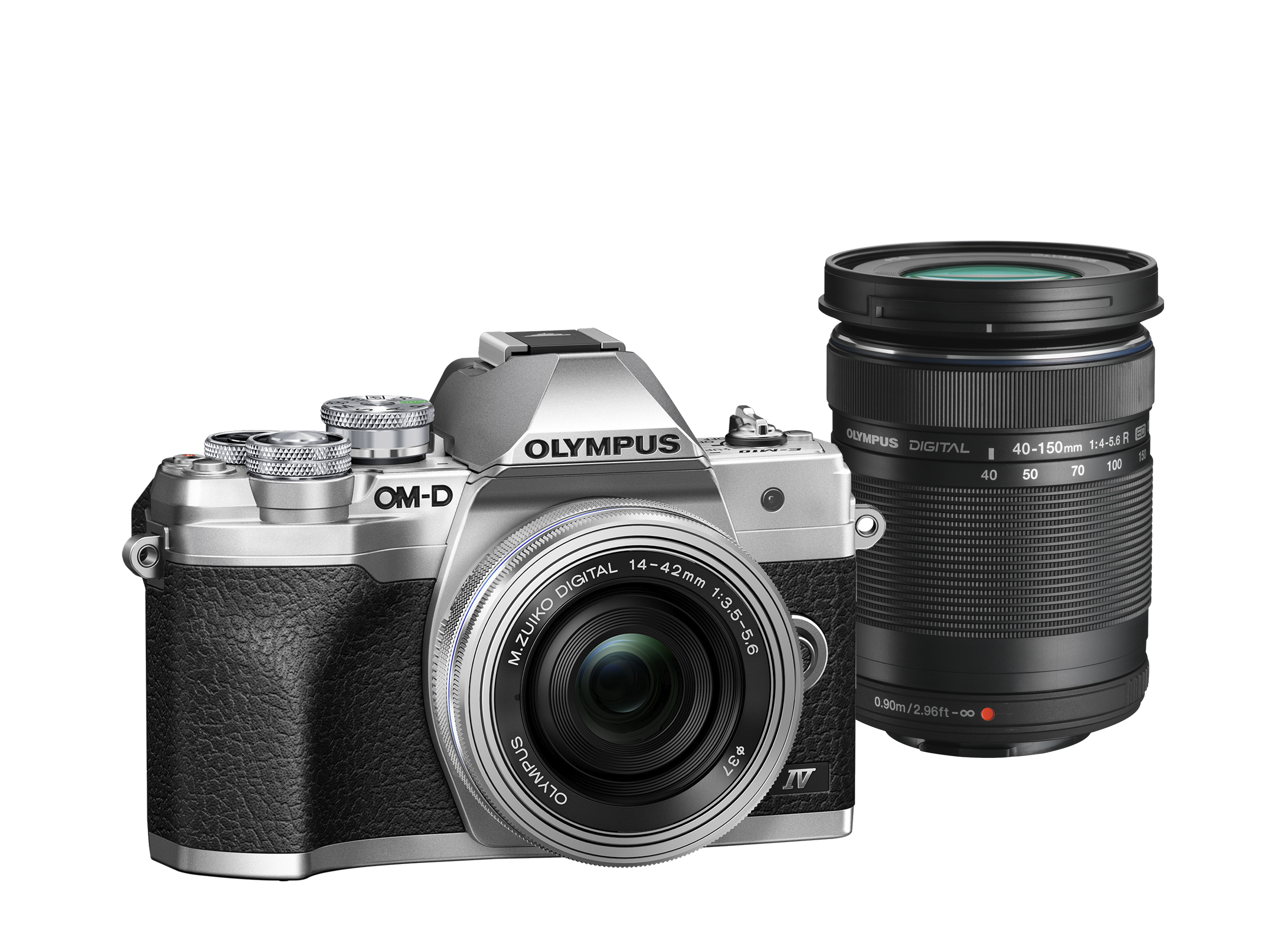 Фотоаппарат Olympus OM-D E-M10 Mark IV Pancake Double Zoom Kit с объективами 14-42 EZ и 40-150mm серебристый (V207134SE000) фото